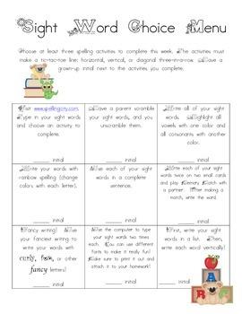 Sight Word Spelling Practice Homework Menu 1