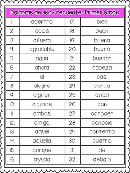 Sight Word & Spelling Words Pack in Spanish- First Grade
