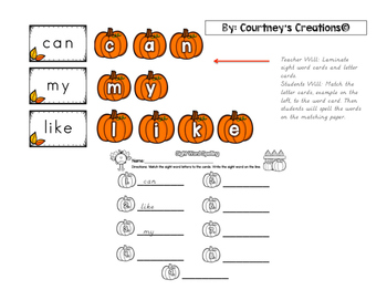 Sight Word Spelling and Matching Center Activities