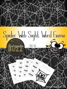 Sight Word Spider Game List B