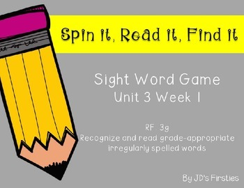 Sight Word Spin It Game Week 1