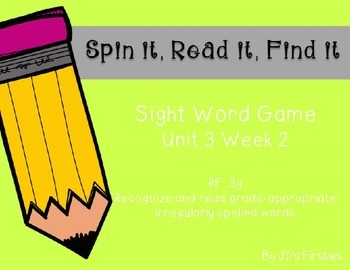 Sight Word Spin It Game Week 2