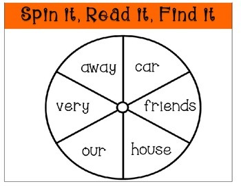 Sight Word Spin It Game Week 3