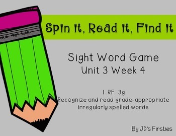 Sight Word Spin It Game Week 4