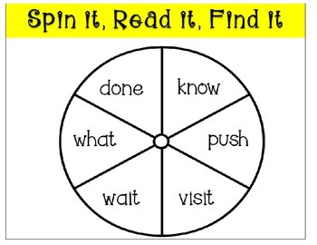 Sight Word Spin It Game Week 5