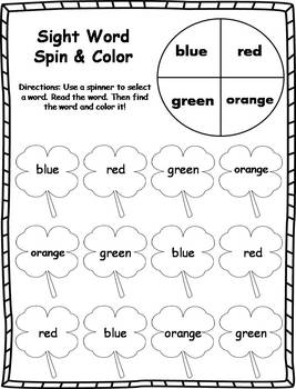 Sight Word Spin and Color Activities- St. Patrick's Day