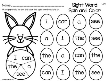 Sight Word Spin and Color-Easter Theme