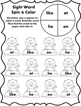Sight Word Spin and Color - Groundhog Day Edition