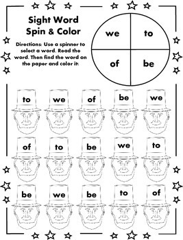 Sight Word Spin and Color - President's Day Edition