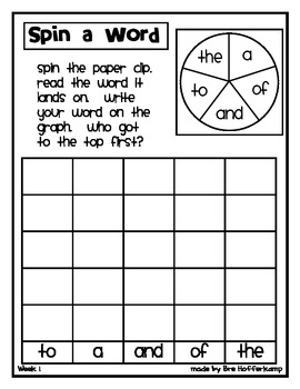 Sight Word Spin and Graph