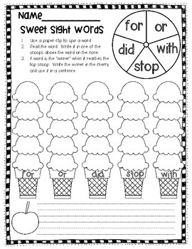 Sight Word Spin and Write Games