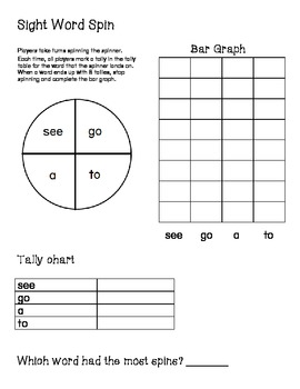 Sight Word Spin see, go, to, a
