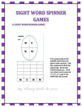 Sight Word Spinner Games