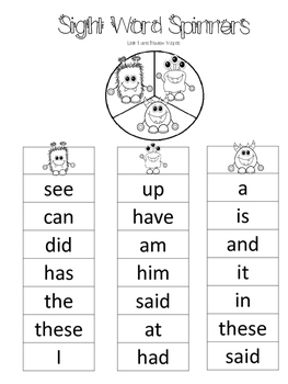 SRA Imagine It! 1st Grade Sight Word Spinners