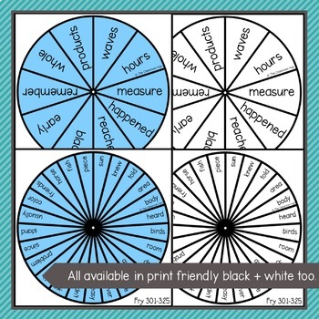 Fry Sight Word Spinners – 2nd 300 Fry - Literacy Centers & Word Game Activities