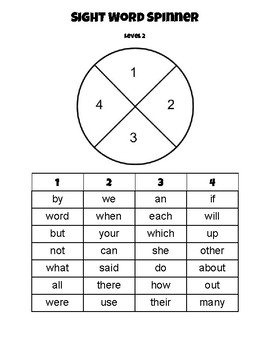 Sight Word Spinners for Beginning Readers