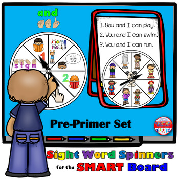 SMARTBoard Lesson: Sight Word Spinners - Pre-Primer - Move Your Body!