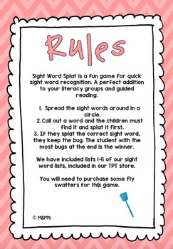 Sight Word Splat