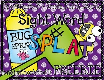 Sight Word Splat Freebie