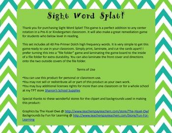 Sight Word Splat! Pre-Primer Board Game