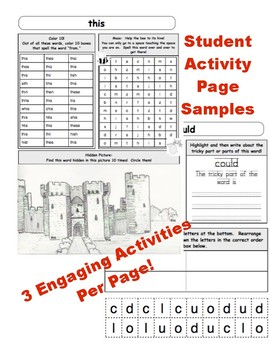Dolch Word Activity Packet:  Yearlong Activities for the first 100 Dolch Words!