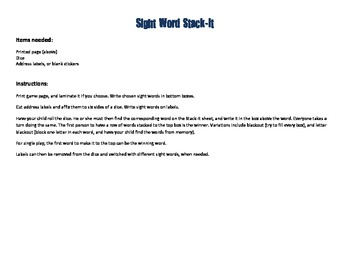 Sight Word Stack-It Game