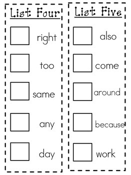 Sight Word Stamp Book #2