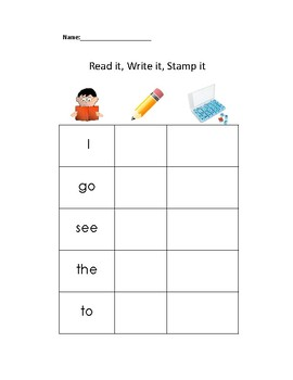 Sight Word Stamp Center Sample