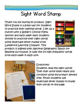 Word Work:Sight Word Stamp National Geographic Reach for Reading 1st Gr. Words