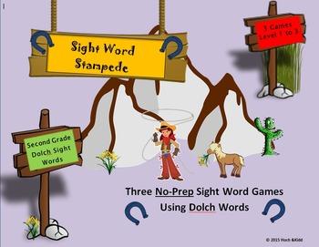 Sight Word Stampede Games - Second Grade - Level 1, 2 & 3 Bundle