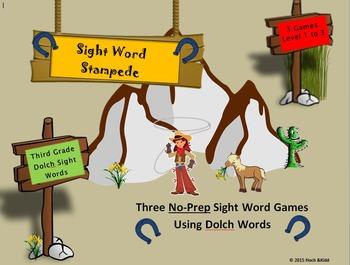 Sight Word Stampede Games - Third Grade - Level 1, 2 & 3 Bundle