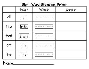 Sight Word Stamping: Primer
