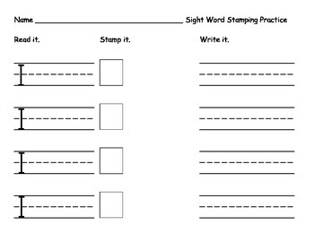 Sight Word Stamping - one word per page