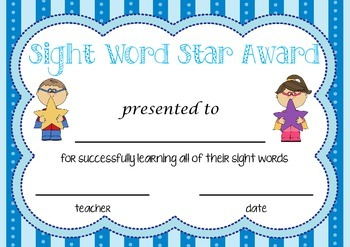 Sight Word Star Award