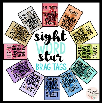 Sight Word Star Brag Tags {Dolch & Lists 1-25}
