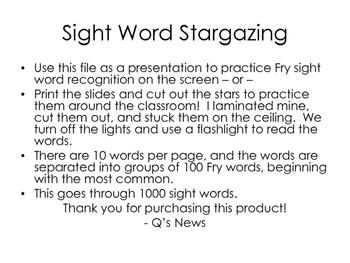 Sight Word Stargazing