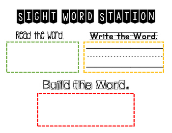 Sight Word Station Activity