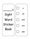 Sight Word Sticker Book
