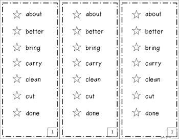 Sight Word Sticker Book Dolch 3rd Grade