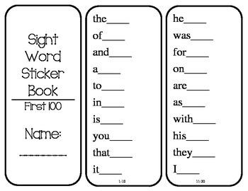 Sight Word Sticker Book (Fry words 1-1,000)