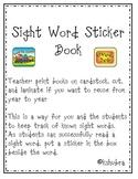 Sight Word *Sticker Book* Kindergarten
