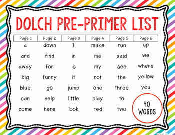 Sight Word Sticker Book Dolch Pre-Primer