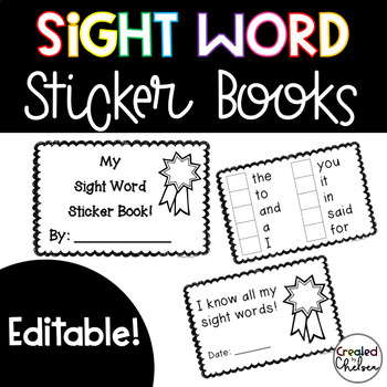 Editable Sight Word Sticker Books {220 words included!}