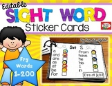 Sight Word Sticker Cards