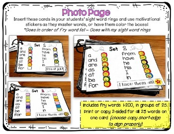 Sight Word Sticker Cards