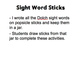 Sight Word Sticks Activities