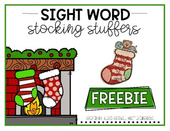 Sight Word Stocking Stuffer Freebie