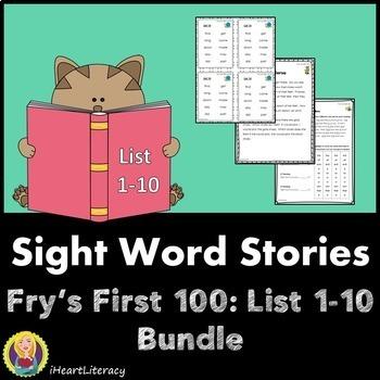 Sight Words Stories Fry's 1st 100 Lists 1-10 Bundle
