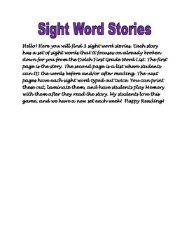 Sight Word Stories Sets 3-6