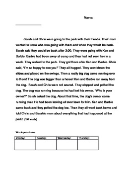Sight Word Story #1